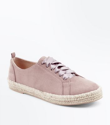 Pink Suedette Ribbon Lace Up Espadrille Trainers