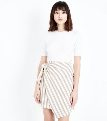 White Stripe Linen Blend Wrap Mini Skirt