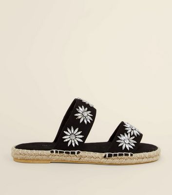 Black Gem Flower Strap Espadrille Sliders by New Look