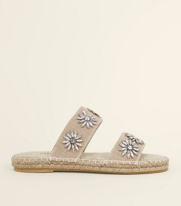 Cream Gem Flower Strap Espadrille Sliders