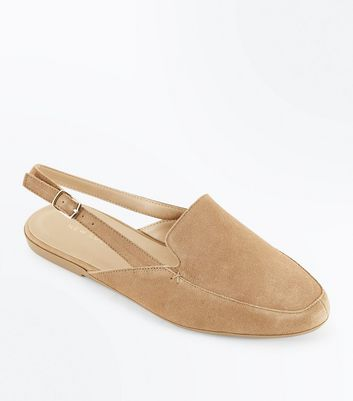 Tan Suede Slingback Loafers