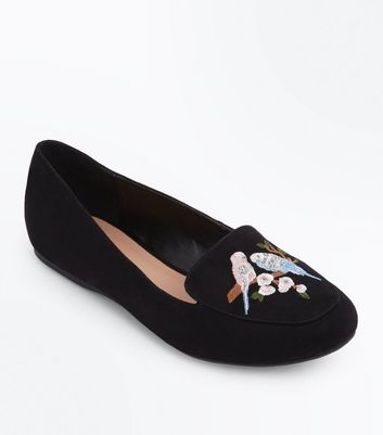 Black Suedette Budgie Embroidered Loafers