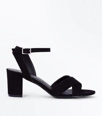 Girls Black Suedette Block Heels