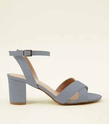 Girls Blue Suedette Block Heels
