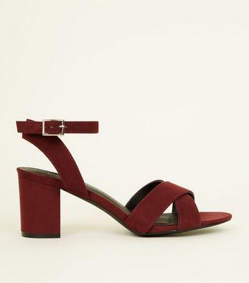 Girls Dark Red Suedette Cross Front Block Heels by New Look