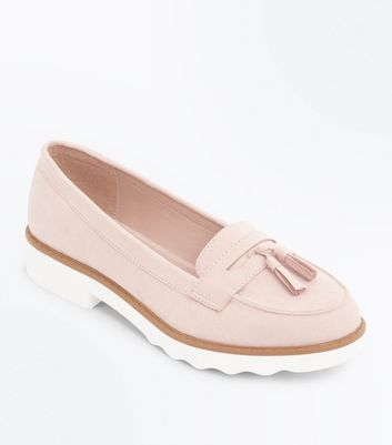 Pink Suedette Tassel Chunky Loafers