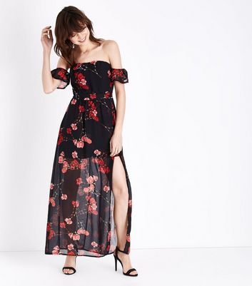 Parisian Black Floral Print Chiffon Maxi Dress