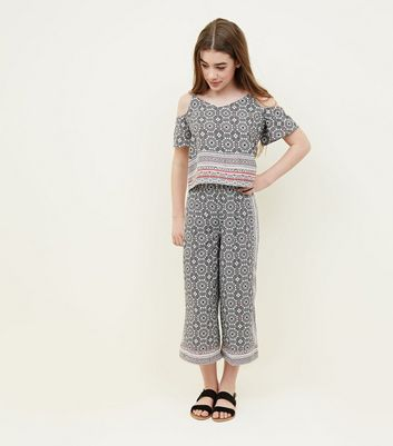 Teens Black Tile Print Culottes