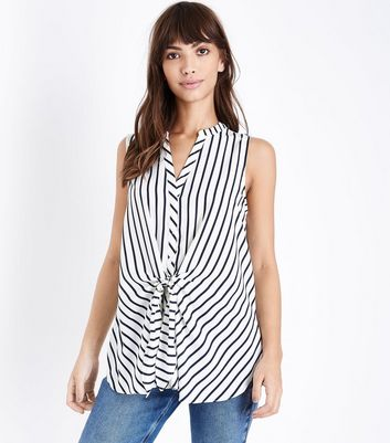 White Stripe Tie Front Sleeveless Shirt