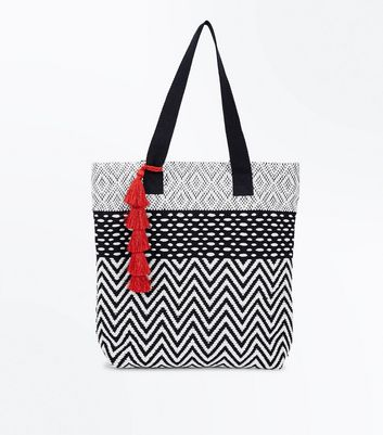 Monochrome Tassel Front Shopper Bag