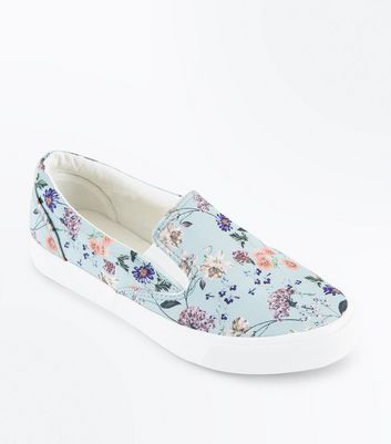 Mint Green Floral Slip On Trainers