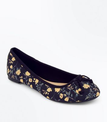 Black Floral Print Ballet Pumps