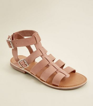 Wide Fit Pink Leather Gladiator Sandals