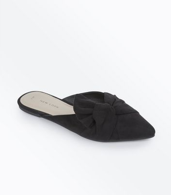 Black Suedette Bow Knot Pointed Mules