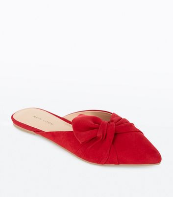 Red Suedette Bow Knot Pointed Mules