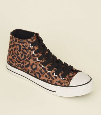 Tan Leopard Print Stripe Sole High Top Trainers