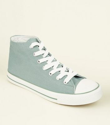 Mint Green Canvas Stripe Sole High Top Trainers