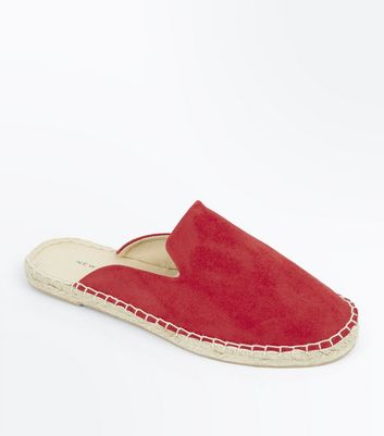 Red Suedette Espadrille Mules