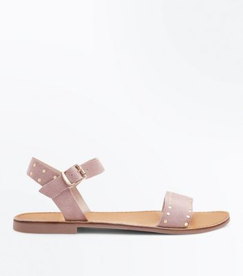 Wide Fit Nude Studded Suede Sandals