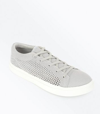 Grey Knitted Lace Up Trainers
