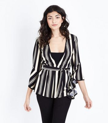 Black Stripe Bell Sleeve Tie Waist Top