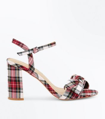 Red Tartan Bow Strap Block Heel Sandals
