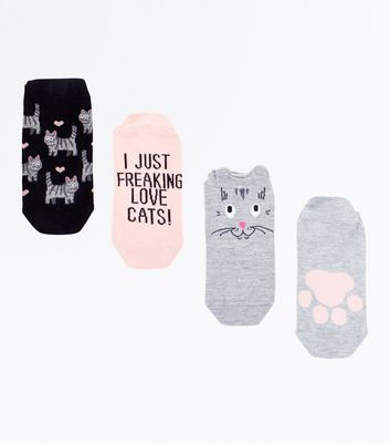 4 Pack Grey Love Cats Trainer Socks