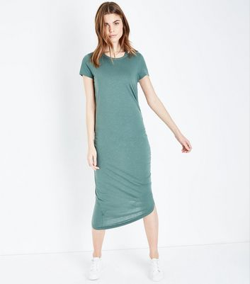 Noisy May Khaki Ruched Side Dress