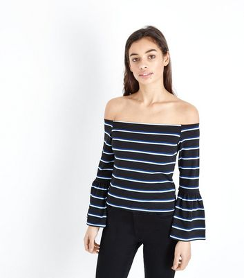 Petite Navy Stripe Bell Sleeve Bardot Top