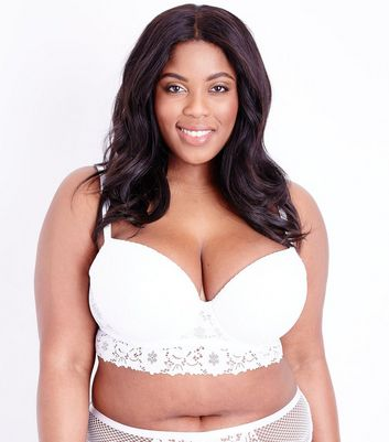 Curves White Cotton Lace Longline Bra