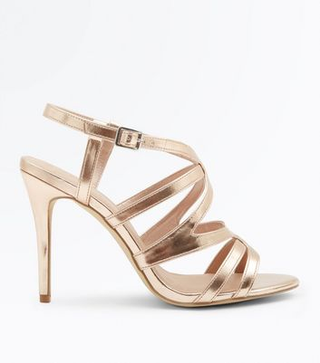Wide Fit Rose Gold Metallic Caged Wedding Sandals