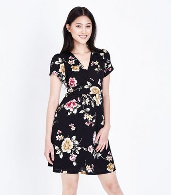 Petite Black Floral Wrap Skater Dress