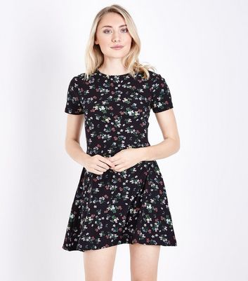 Petite Black Floral Soft Touch Skater Dress
