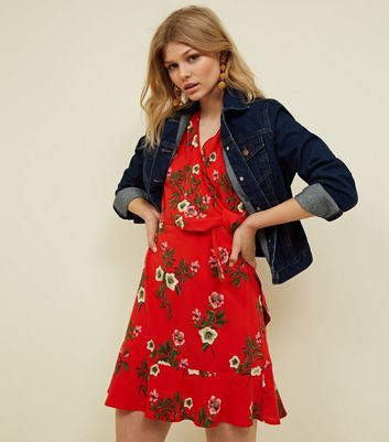 Petite Red Floral Tie Side Mini Dress