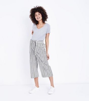 Maternity White Stripe Over Bump Crop Trousers