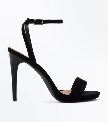Black Suedette Contrast Heel Stiletto Sandals