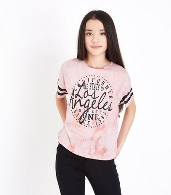 Teens Pale Pink Tie Dye Los Angeles T-Shirt