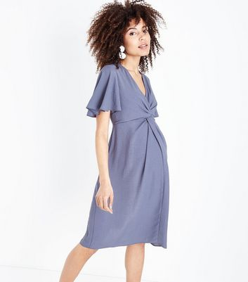 Maternity Dark Grey Knot Front Midi Dress