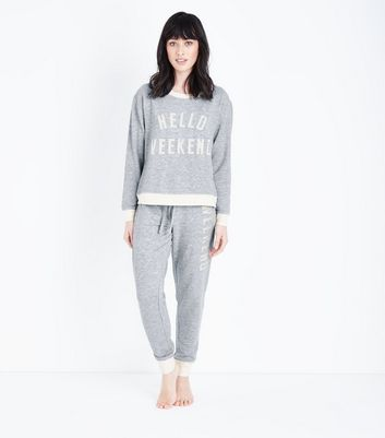 "Graue ""Hello Weekend""-Pyjama-Jogginghose"