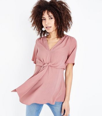 Maternity Deep Pink Knot Front Blouse