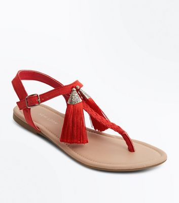 Red Tassel Toe Post Sandals