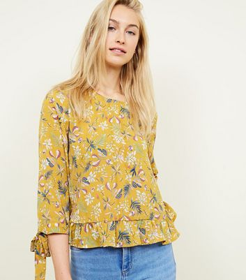 Blue Vanilla Yellow Floral Tie Sleeve Top