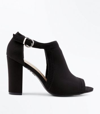 Black Comfort Flex Cut Out Peep Toe Heels by New Look