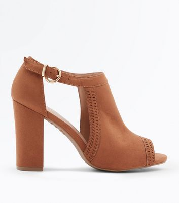 Tan Comfort Flex Cut Out Peep Toe Heels