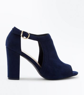 Navy Comfort Flex Cut Out Peep Toe Heels