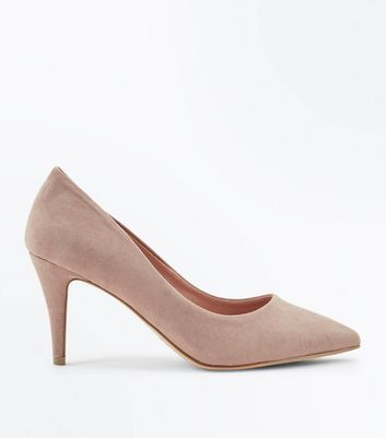 Wide Fit Light Brown Suedette Pointed Court Shoes