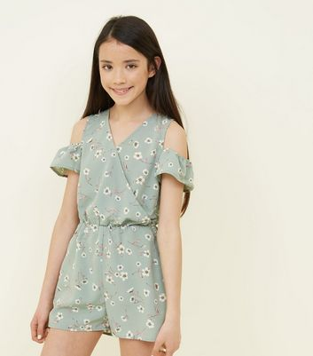 Teenager – Grüner Cold-Shoulder-Playsuit mit Blumenmuster