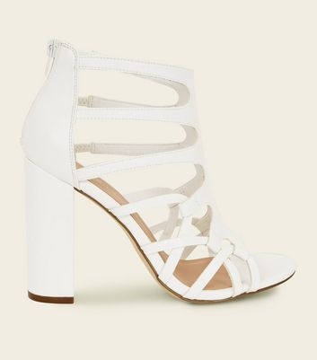 White Woven Block Heel Gladiator Sandals