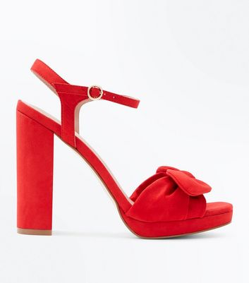 Red Suedette Bow Strap Block Heels