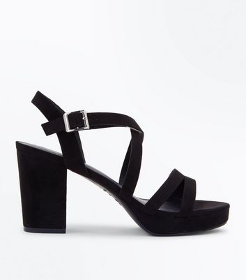 Black Suedette Strappy Block Heel Sandals